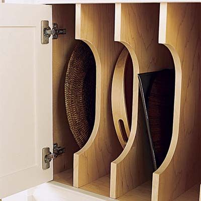 Vertical Dividers In Kitchen Cabinets For Easy Access To Baking Sheets And Kitchen Cabinet Storage Kitchen Cabinet Storage Solutions Kitchen Storage Solutions