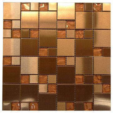 W33 Modular Copper Metal Gl Mosaic Contemporary Bathroom Tile