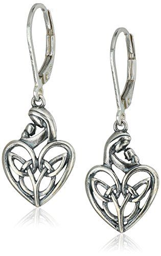 Sterling Silver Oxidized Celtic Mother And Child Heart Lever Back Earrings More Info For Diamond Hoop Jade Costume Las