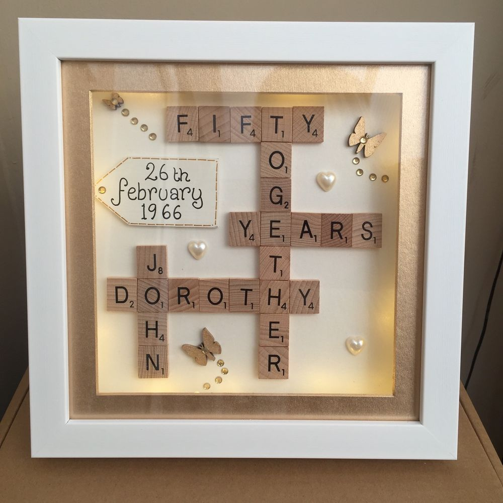 Boxed led light 3d frame scrabble special wedding silver golden ...