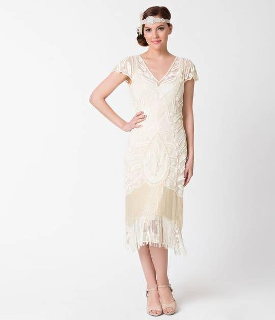 1920s Style Cream Ivory Beaded Vegas Fringe Flapper Dress | Flapper ...