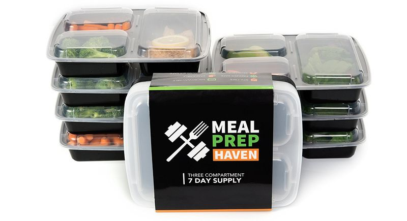 Meal Prep Haven 3 Compartment Food Containers with Airtight Lid