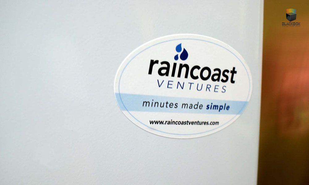 Custom sticker designed and printed by blackbox print blackbox stickers