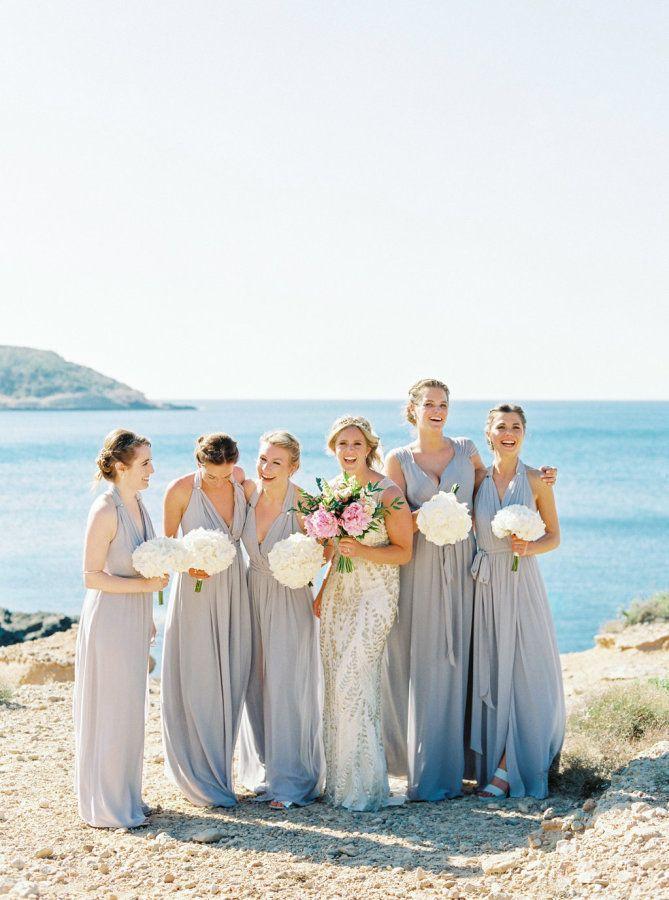 Bridesmaid Beach Wedding Simple White Bouquets