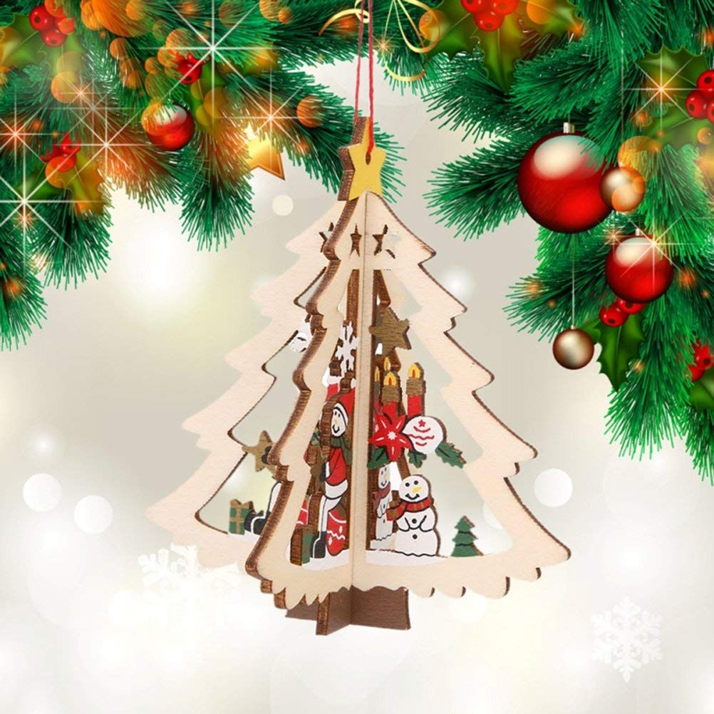 Tinksky Wooden Christmas Tree Ornaments Hanging Christmas Decorations Pack Of 5 Christmas Hanging Decorations Christmas Tree Ornaments Wooden Christmas Trees