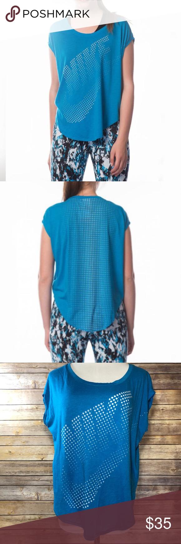 Nike Blue Short Sleeve Burnout Tee Shirt Clothes design