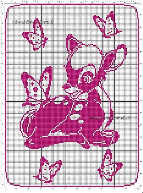 Schema Filet Uncinetto Gratis Copertina Neonato Con Disney Bambi