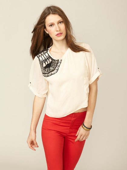 Woven Adonia Beaded Blouse by San & Soni