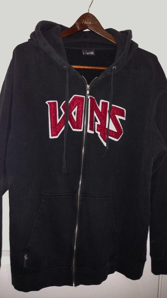 25e83b73b0 VANS Black w Red Letters Zipper Hoodie hooded Size XL XXL no tag vintage  rare