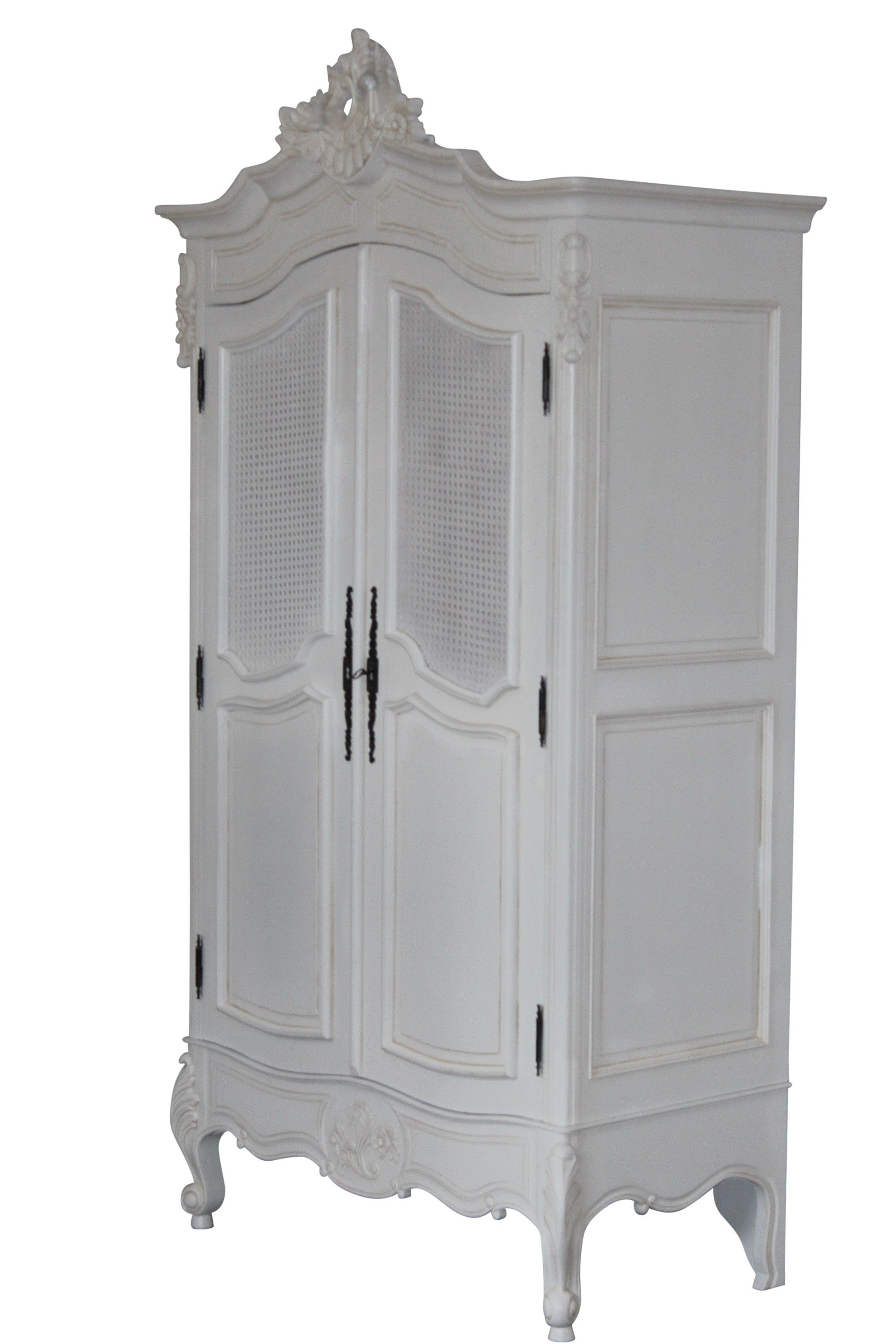 French Armoire Double Door With Cane Top Panels