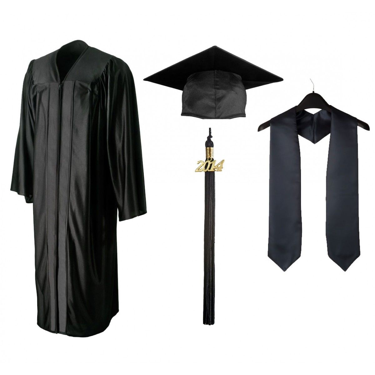 Shiny-Black-Cap-Gown-Tassel-Stole.jpeg (1200×1200) | Graduation Rob ...