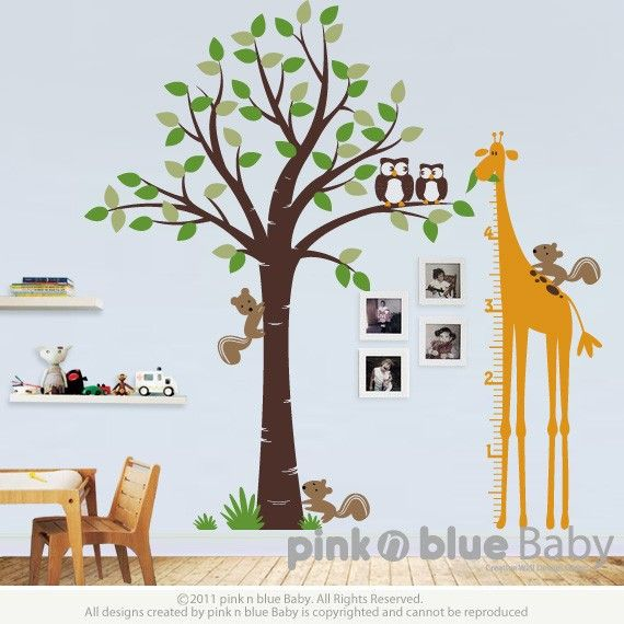 Wall decal tree giraffe growth chart nursery kids by pinknbluebaby also rh pinterest