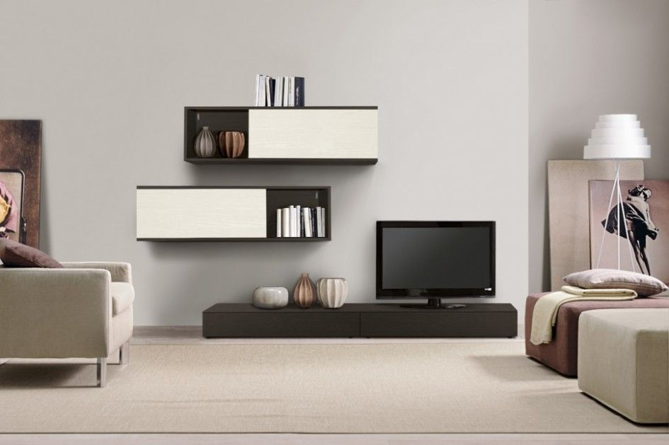 Living Room, Simple Contemporary Wall Cabinets Also Tv Unit Plus White  Floor Lamp And Area