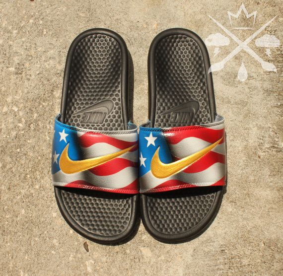 american flag roshes with gold nike sign flip-flops