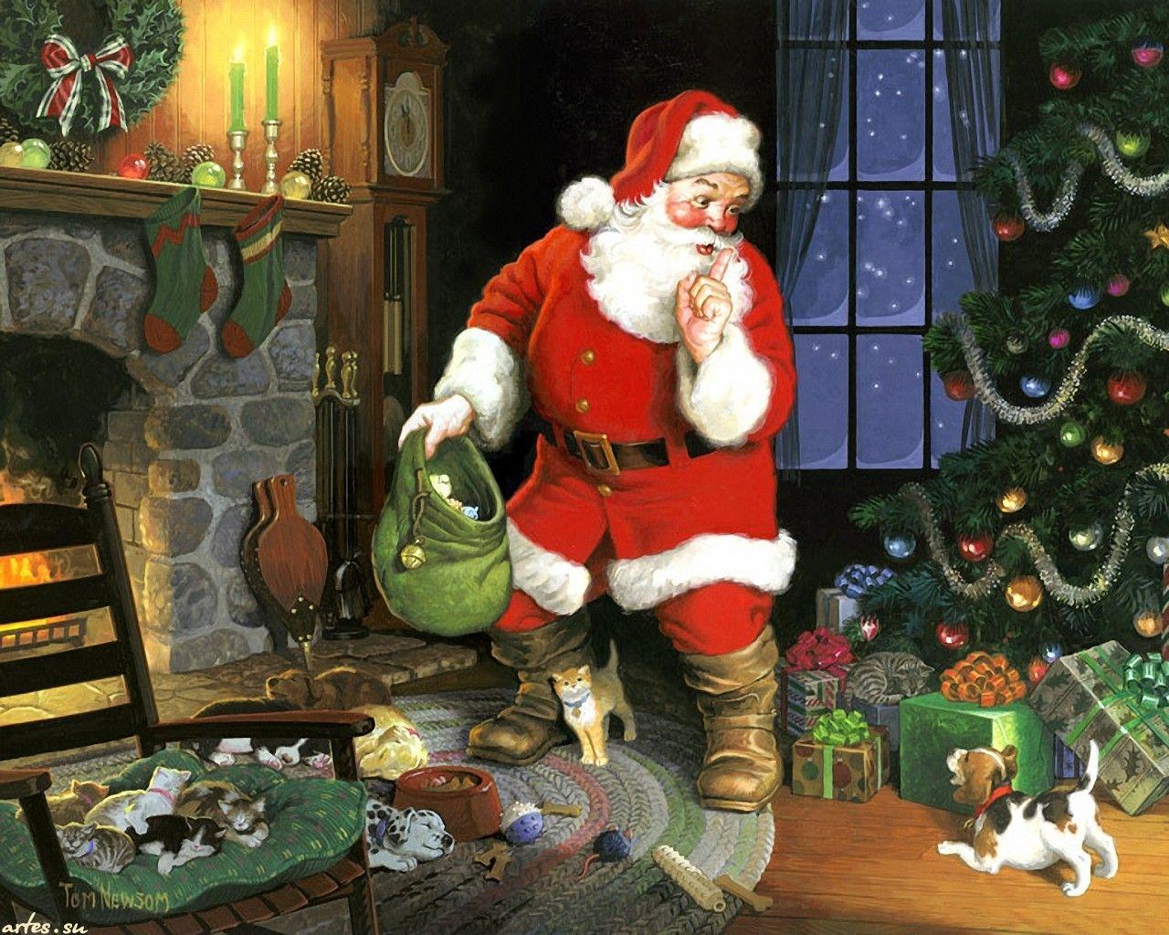 Skachat Oboi Novyj God Rozhdestvo Santa Klaus Yolka Novogodnie Podarki Tom Newsom 1280x1024 Christmas Illustration Christmas Scenes Santa Claus Wallpaper
