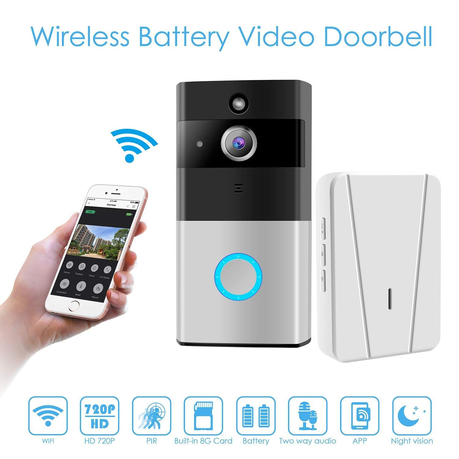 Wireless Video Doorbell, WiFi Smart Doorbell 720P HD Wide