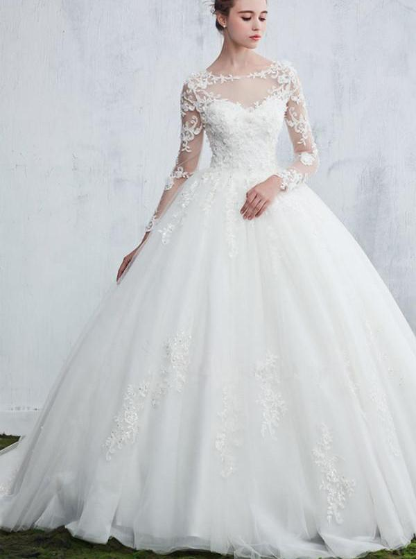 Princess Wedding Gown Dresses With Long Sleeves Ball Dress Winter Wishingdress