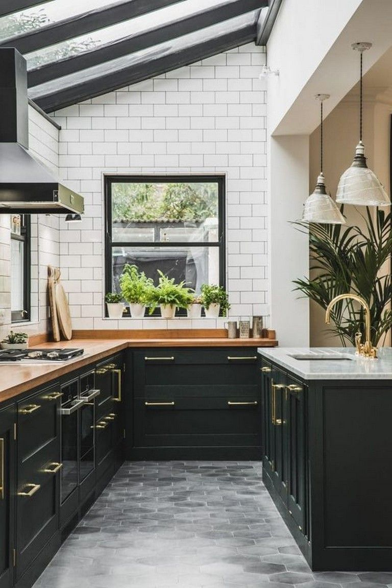 10 Admirable Stylish Black And White Subway Tiles Kitchen Design With Matching Furniture White Wood Kitchens White Kitchen Decor Kitchen Tiles Design