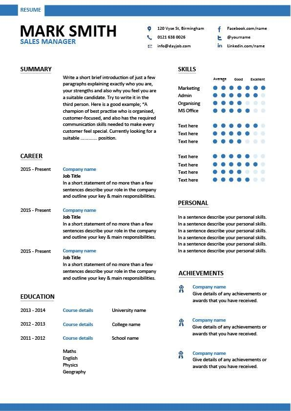 Sales Manager CV example, free CV template, sales management jobs - a resume format