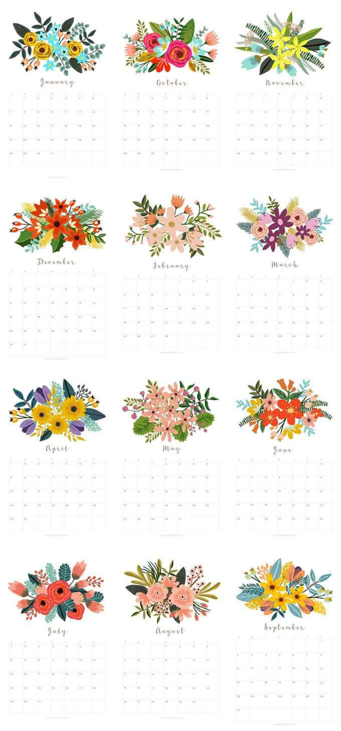 Beautiful Floral 2018 Calendar Monthly Planner Printables