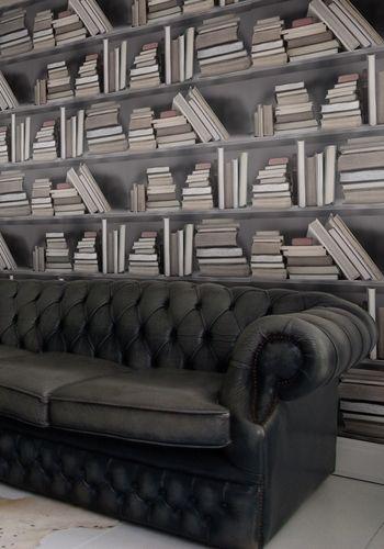 Wallpaper+Bookshelf+-+Vintage