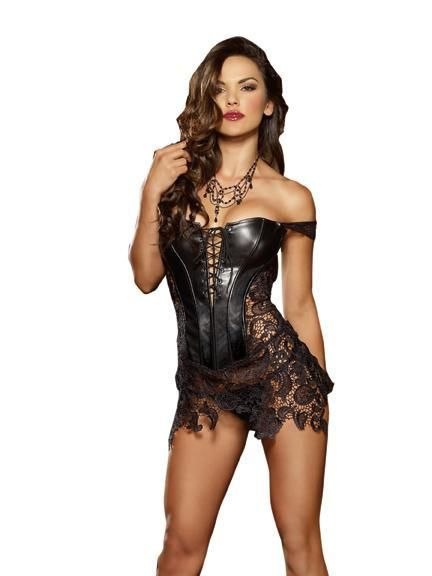 plus Dress Black faux leather /& venetian lace dress fully boned corset small
