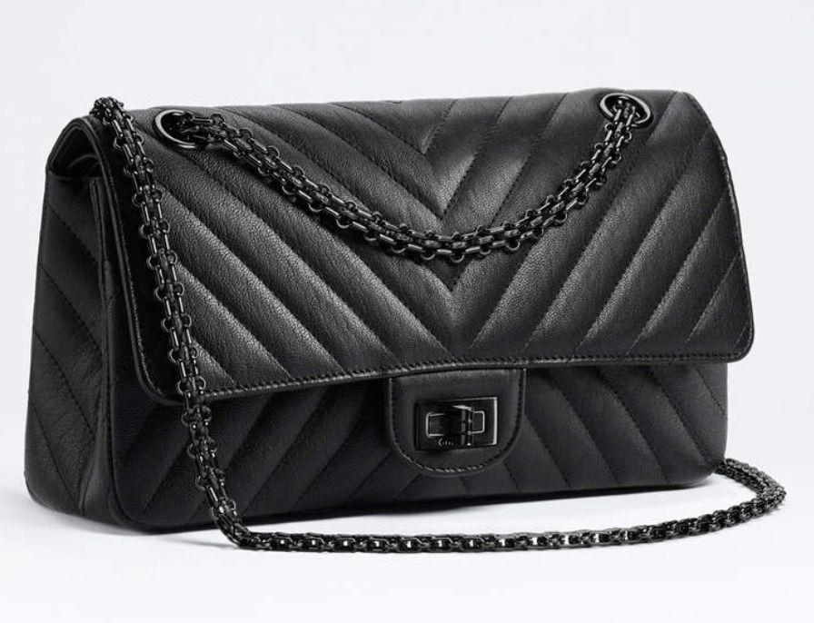 889115bcf1af BNIB Authentic CHANEL So Black Chevron Leather 2.55 Reissue Double Flap  Handbag  CHANEL  ShoulderBag