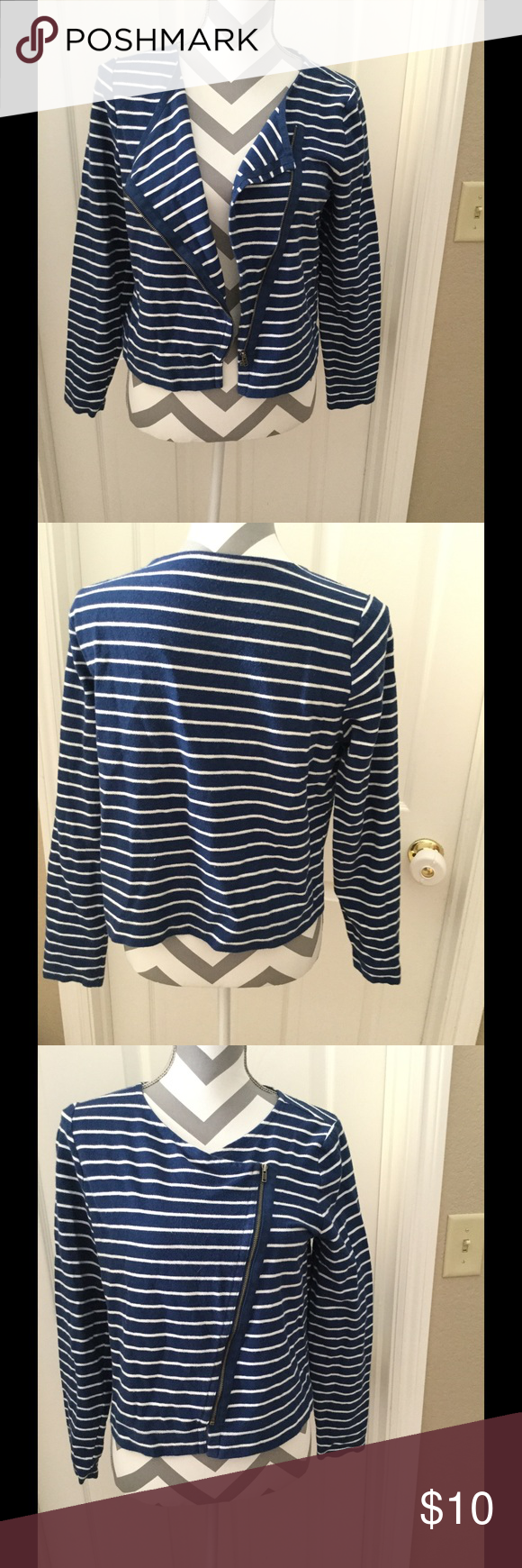 Side zip casual blazer- nautical look. Almost feels like a sweater.  Blue and white stripes. 95% cotton, 5% cotton.  Very lightweight and comfortable. Looks great with jeans, also can be dressed up to wear to the office. Stylus Jackets & Coats Blazers