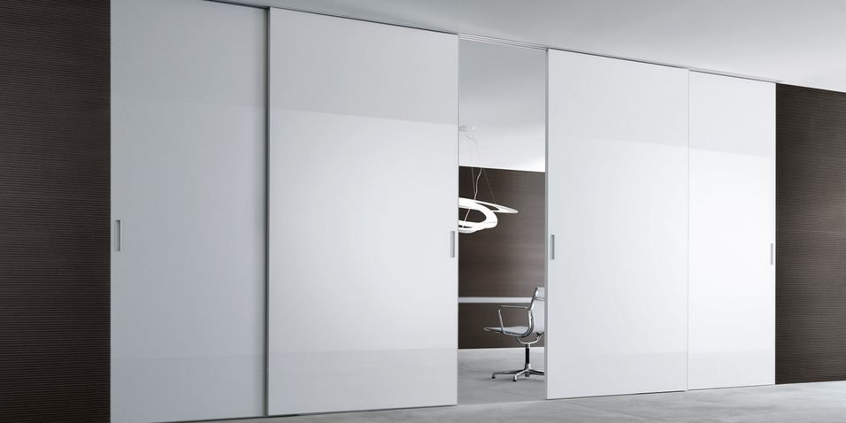 lacquered white aluminium frame and bianco latte colour glass ...