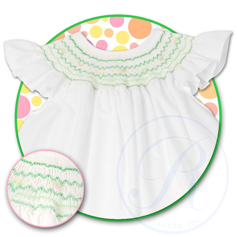 Spring Green White Angel Sleeve Smocked Bishop 13SS 4579A