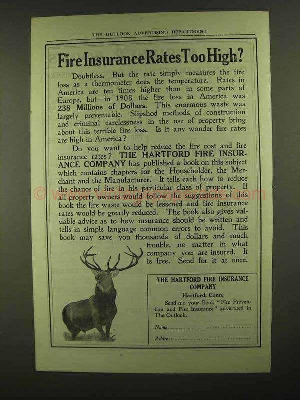 The Hartford Insurance Address >> 1909 Hartford Fire Insurance Ad Rates Too High Vintage