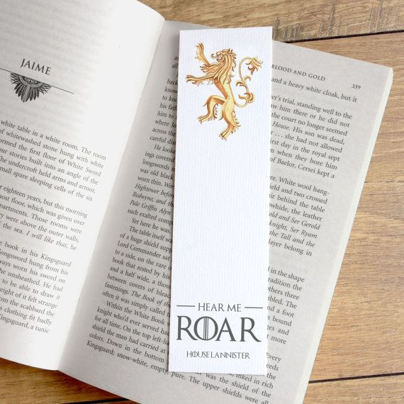 Game of Thrones Quote Book Mark - Hear Me Roar Book Mark ... - photo#26