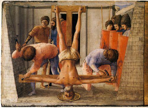 Masaccio.Pisa.S. Maria del Carmine.altar.predella.Crucifixion of St.Peter.1426.[Berlin] (by arthistory390)