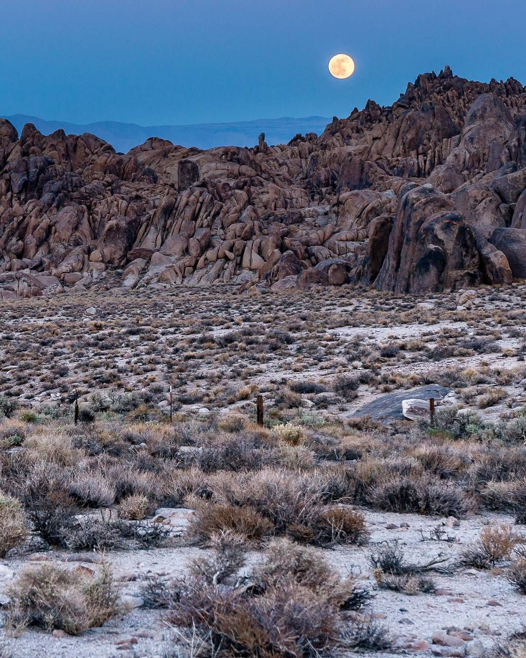 The moon rises over the Alabama Hills near Lone Pine ...