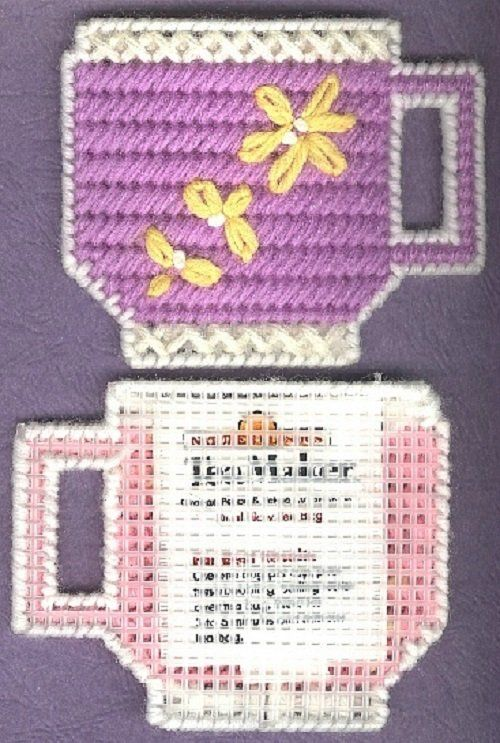 Sold Tea Cups 2 Needlepoint On Plastic Canvas New