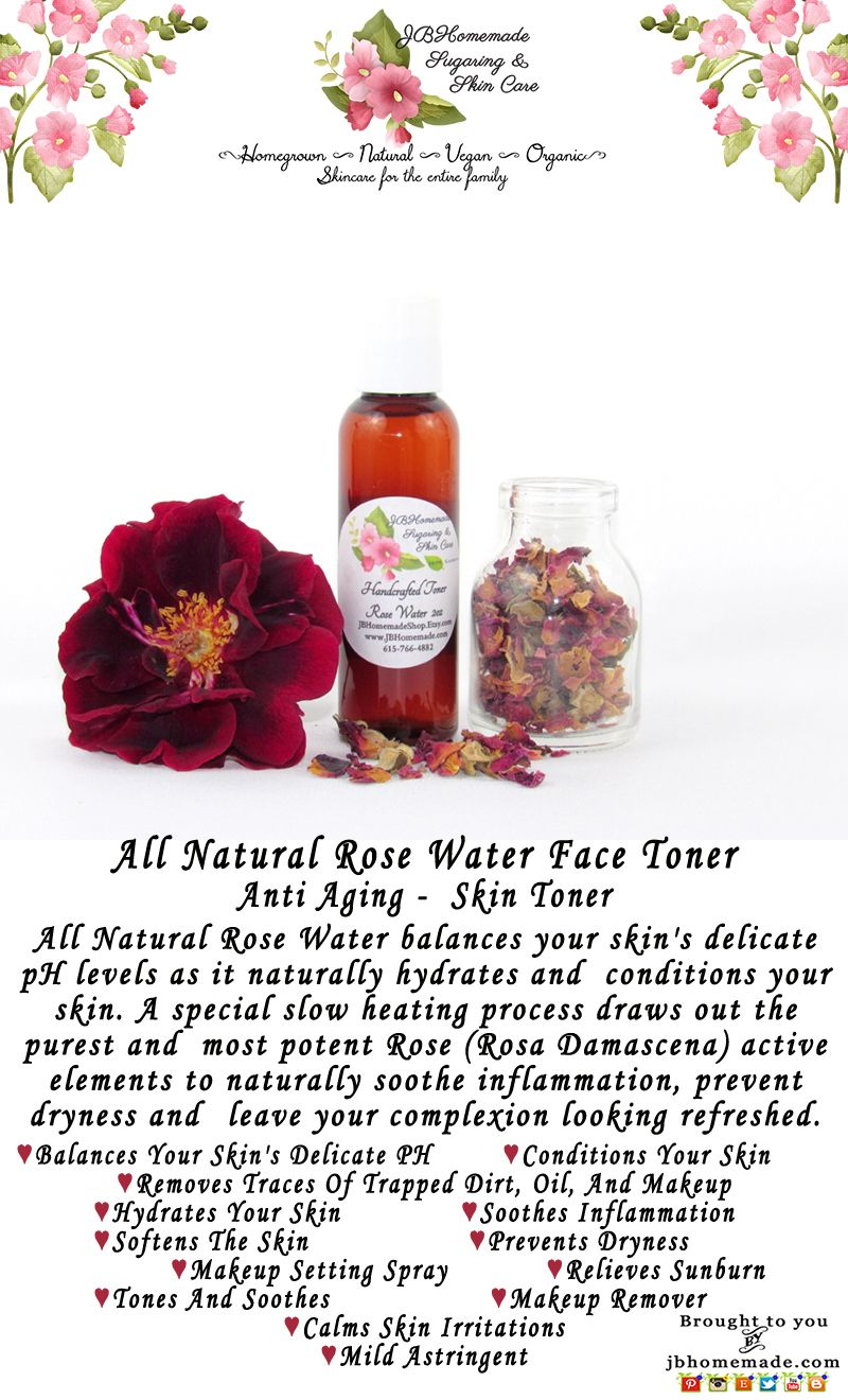Rose Water Rose Face Toner Natural Skincare Facial Toner Etsy In 2020 Rose Water Natural Toner Toner For Face