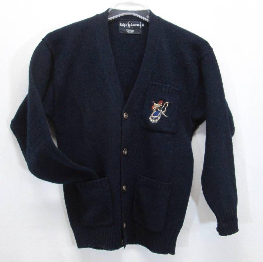 Ralph Lauren Pheasant Cardigan Sweater Mens Small Wool V-Neck ...