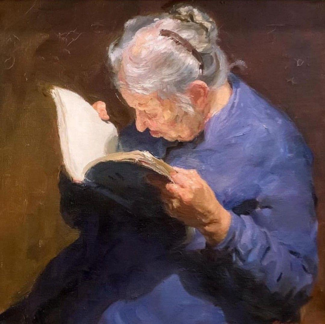 Pin von B Schwöbel auf Portrait Art | Frau beim lesen