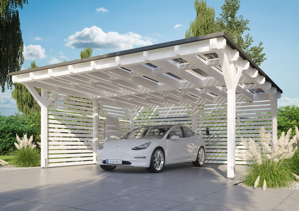 Tesla Model 3 Under The Solar Carport Solarcarporte De We Can Do A Carport For 2 Cars A Second Structure Like It Behind Fo Carport Designs Carport Pergola
