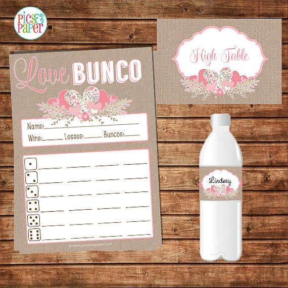 Valentine'S Day Bunco Score Card With Pink Hearts By Picsandpaper