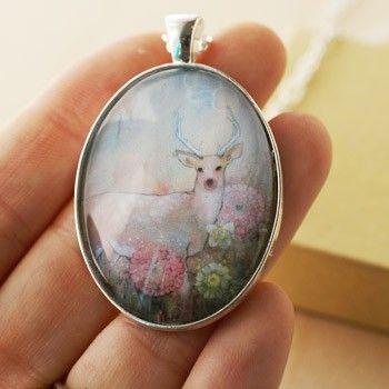 Handmade Gifts | Independent Design | Vintage Goods Silver Deer Necklace - I love art