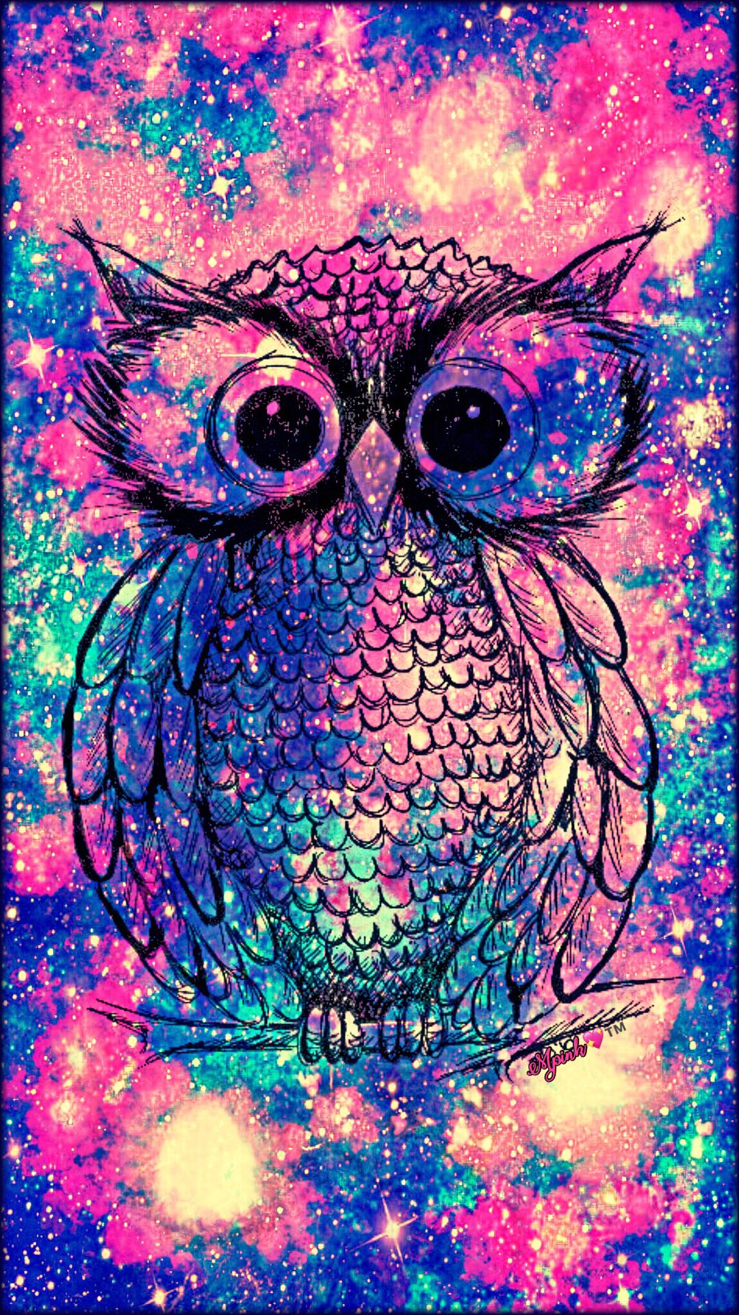 Vintage Owl Galaxy Wallpaper Androidwallpaper Iphonewallpaper Wallpaper Galaxy Sparkle Glitter Lockscreen Pretty Pink Cute Animal Girly Owl
