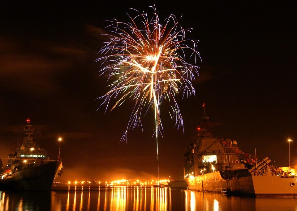 PearlHarbor Hawaii Night Evening Fireworks NewYear