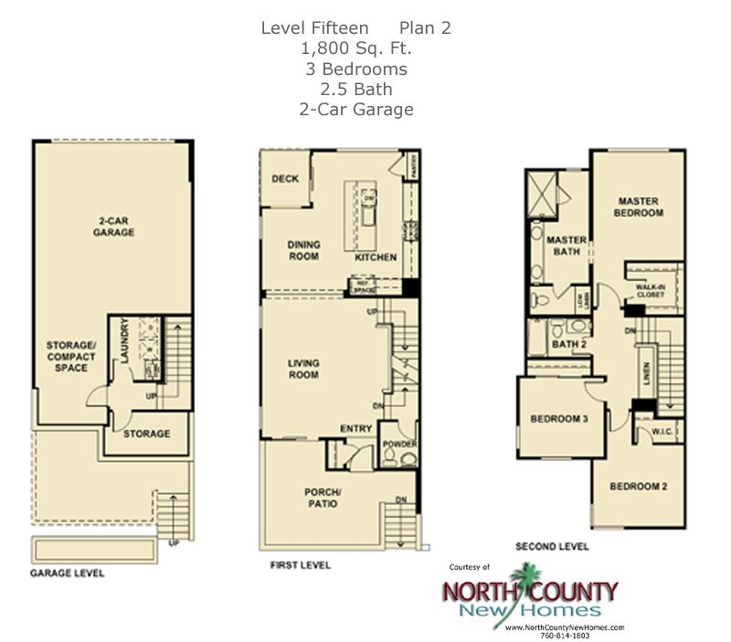 New townhomes in escondido selling at level fifteen from for 2 story townhouse plans