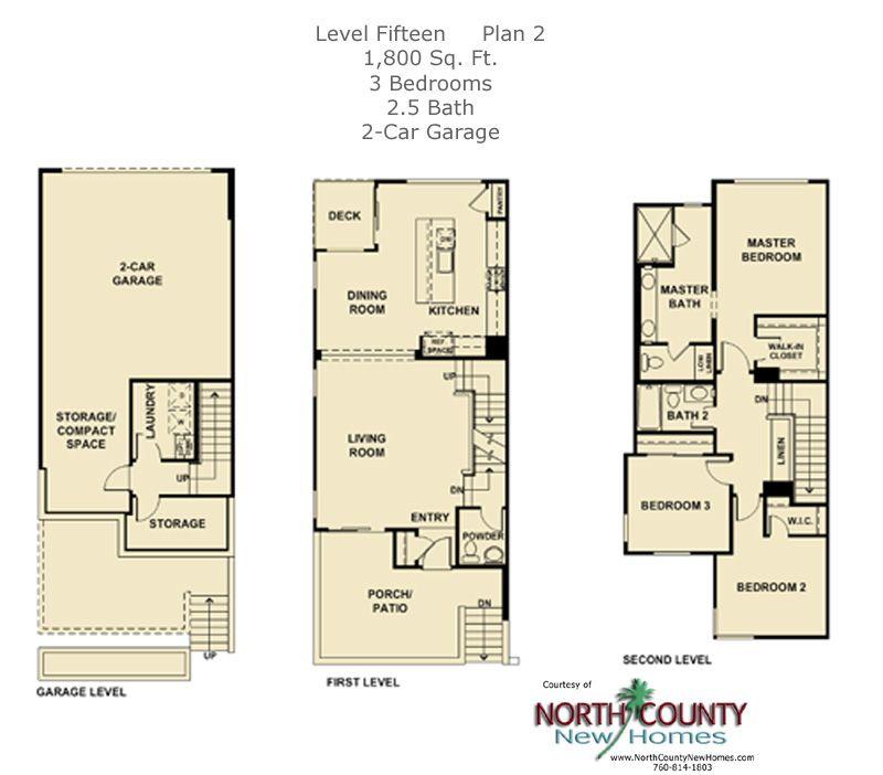 Level Fifteen Floor Plan 2 North County New Homes Floor Plans House Floor Plans Townhouse Designs