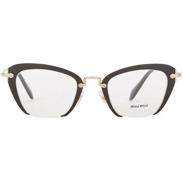 cf5ea5a3eee7 Miu Miu Black cat-eye optical glasses (1,120 SAR) ❤ liked on Polyvore  featuring accessories, eyewear, eyeglasses, miu miu eyeglasses, miu miu  glasses, lens ...