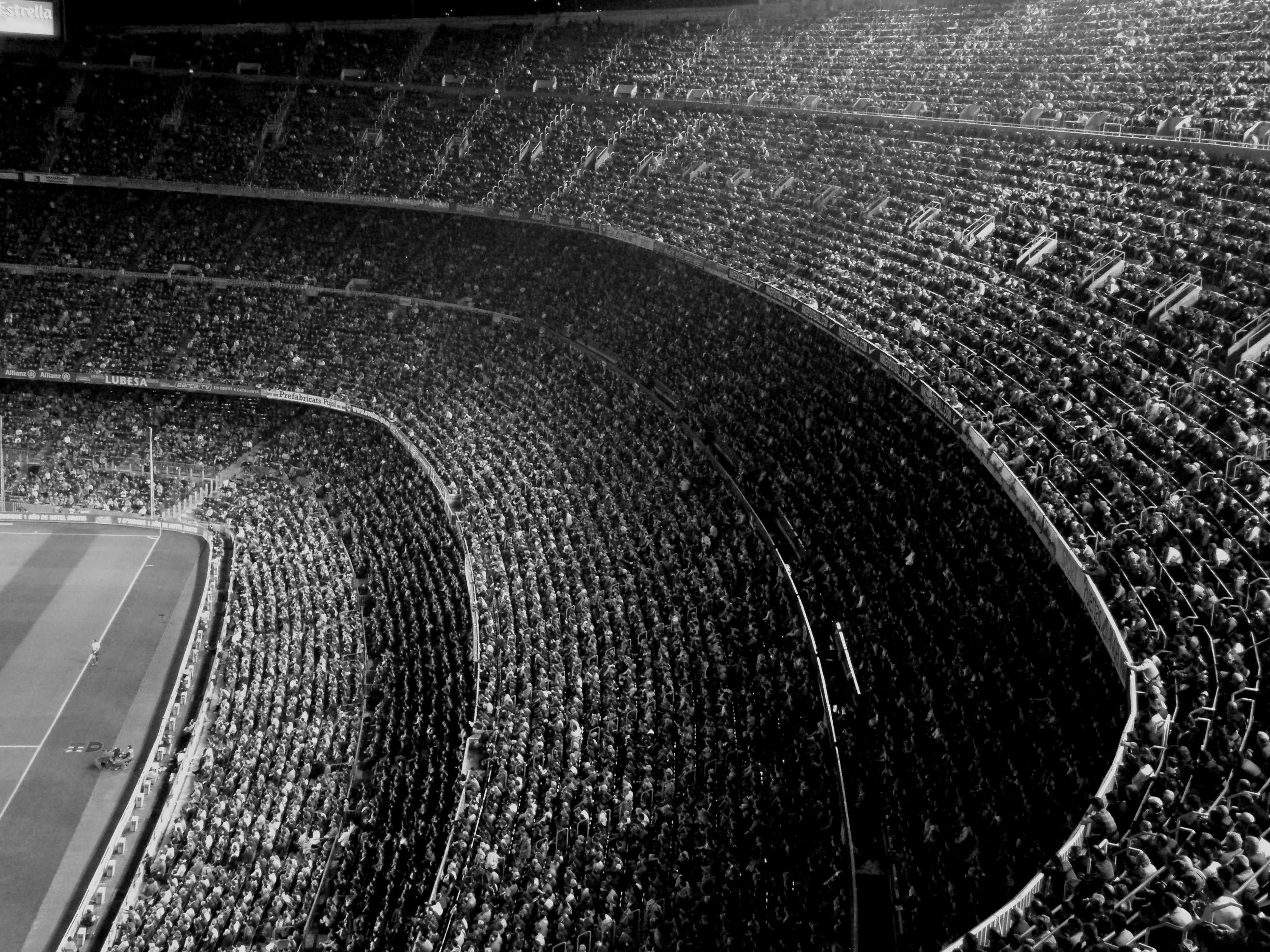 Photography Black White Stands Tribune Match Game Society Club Supporters Fans Throng Crowd Multitude Audienc In 2020 Black And White Camp Nou Photography Wallpaper