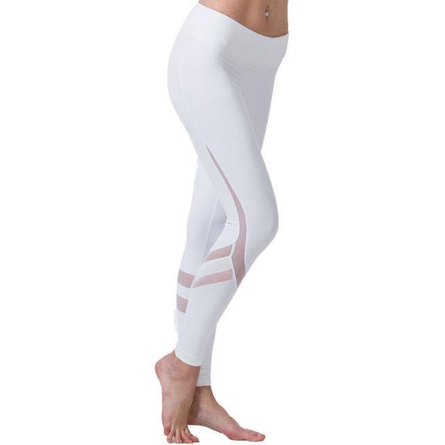 New!!! Elastic waistband White Yoga pants with Mesh Panels ... e423bb7dd12a