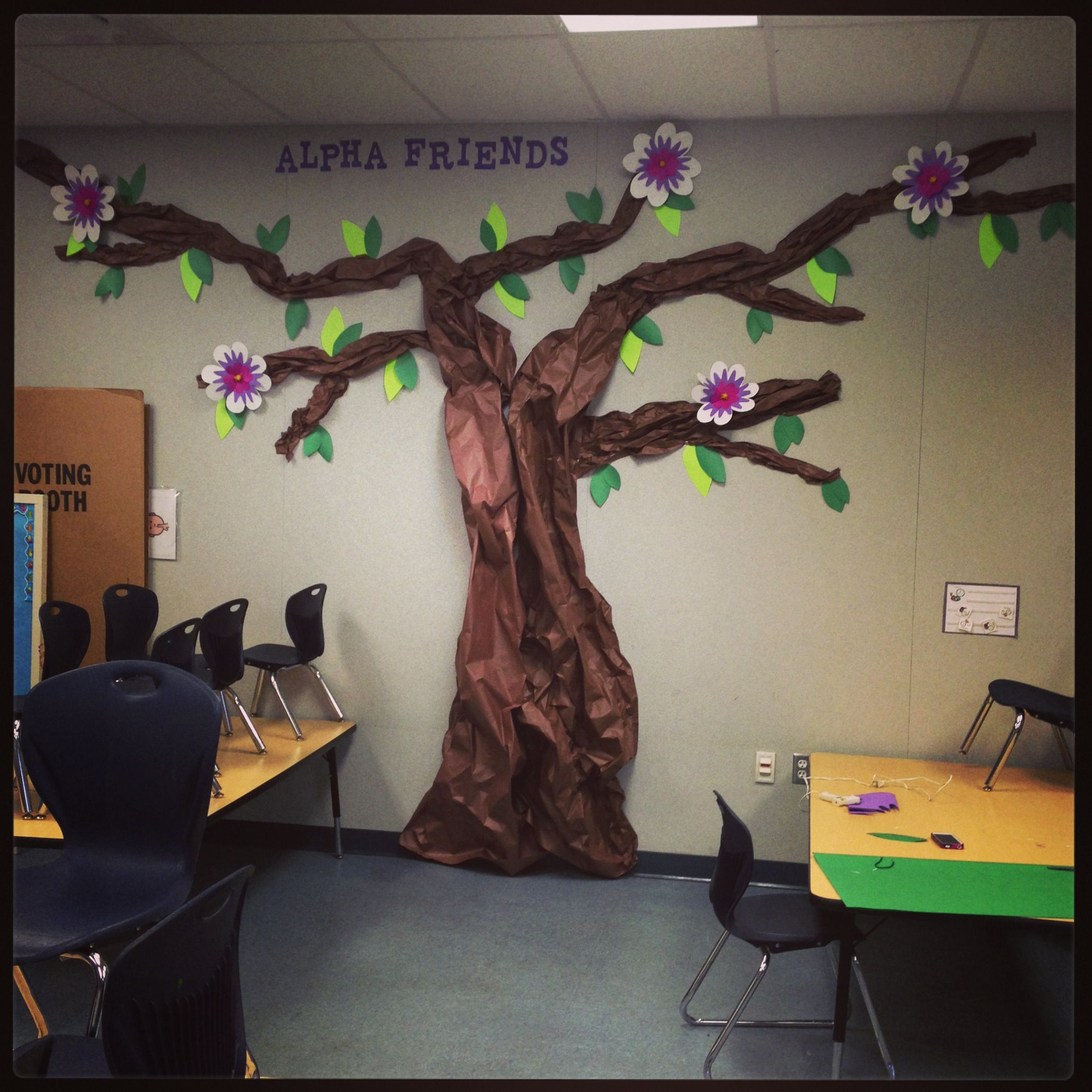 Classroom Decor Tree ~ Our almost finished butcher paper tree for preschool