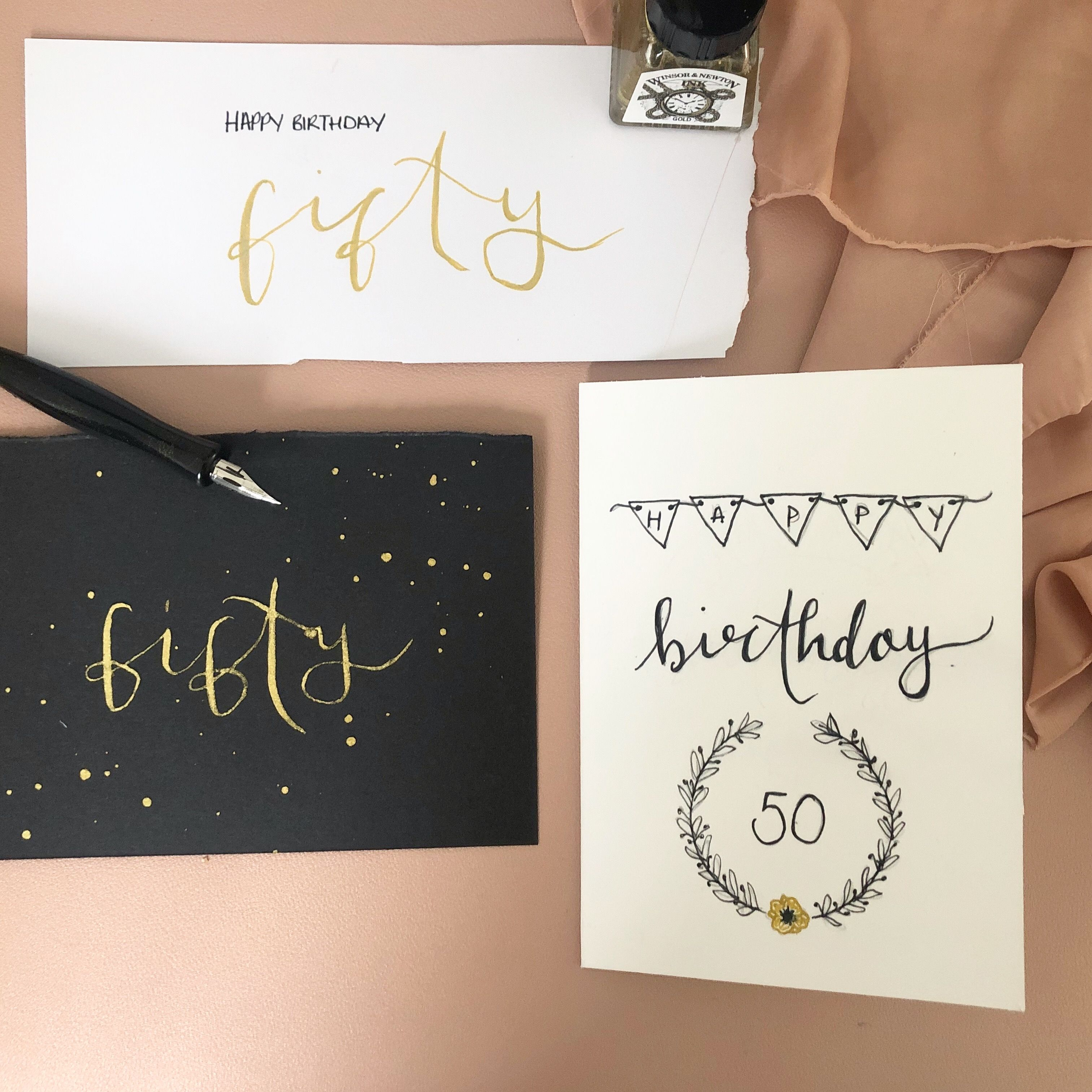 Bespoke Birthday Card Design Process Calligraphy Birthday Card Calligraphy Cards Birthday Card Design